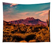 Sunset At Four Peaks Tapestry