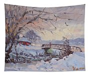 Sunset At Snow-covered Niawanda Park Tapestry