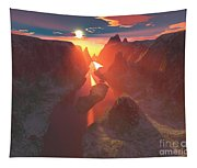 Sunset At The Canyon Tapestry