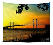 Sunset At The Delaware Memorial Bridge Tapestry
