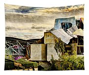 sunset at the marques de riscal Hotel - frank gehry - vintage version Tapestry