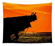 Sunset At The Ss Atlantus Concrete Ship Tapestry