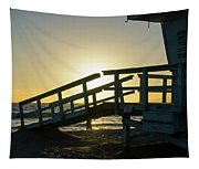 Sunset Behind A Lifeguard Station On Venice Beach Ca Tapestry