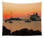 Sunset, Boats And Sea Tapestry