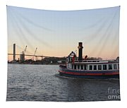 Sunset Ferry In Savannah Tapestry