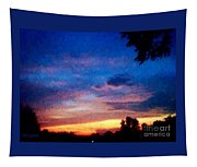 Sunset In A Deep Blue Sky Line Tapestry