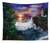 Sunset In The Cove Tapestry
