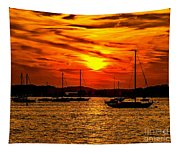 Sunset On Muskegon Lake Tapestry