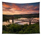 Sunset On Ohio River  Tapestry