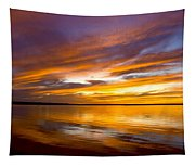 Sunset On The Harbor Tapestry