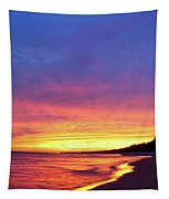 Sunset Over Beach Tapestry