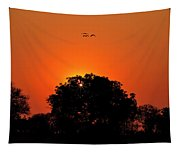Sunset Over Botswana Tapestry