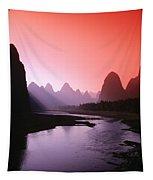 Sunset Over Li River Tapestry