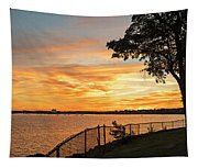 Sunset Over Lynch Park Beverly Ma Water Tower Tapestry