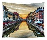 Sunset Over Naviglio Grande Tapestry