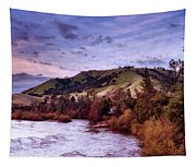 Sunset Over The American River Tapestry