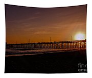 Sunset Over The Newport Beach Pier Tapestry