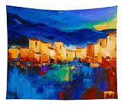 Sunset Over The Village Tapestry