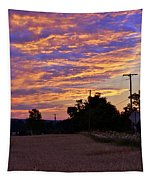 Sunset Over The Wheat Fields Tapestry
