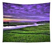Sunset Over Turners Creek Savannah Tybee Island Ga Tapestry