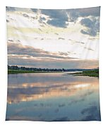 Sunset Over Union Bay Tall Panorama Tapestry