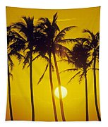 Sunset Palms And Family Tapestry