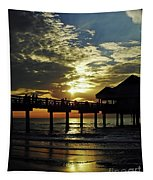 Sunset Pier Reflection Tapestry