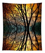 Sunset Tree Silhouette Abstract 3 Tapestry