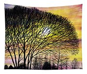 Sunset Tree Silhouette Tapestry