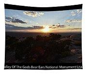 Sunset Valley Of The Gods Utah 01 Text Black Tapestry
