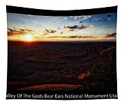 Sunset Valley Of The Gods Utah 11 Text Black Tapestry