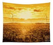 Sunsets And Golden Turbines Tapestry