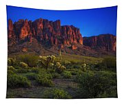 Superstition Mountain Sunset Tapestry