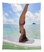Surfboard Headstand Tapestry