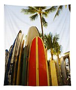 Surfboards At Waikiki Tapestry