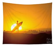 Surfer Silhouetted At Sun Tapestry