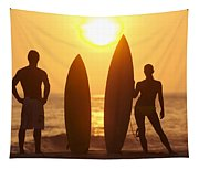 Surfer Silhouettes Tapestry