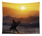 Surfer Walking At Sunset Tapestry