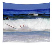 Surfers At Asilomar State Beach Three Oopsy Daisy Tapestry