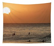 Surfers At Sunset Tapestry