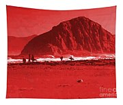 Surfers On Morro Rock Beach In Red Tapestry