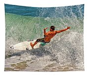 Surfing Action  Tapestry