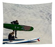 Surfing Couple Tapestry