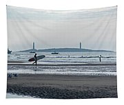 Surfing On Good Harbor Beach Gloucester Ma Tapestry