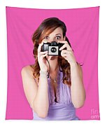 Surprised Woman Taking Picture With Old Camera Tapestry