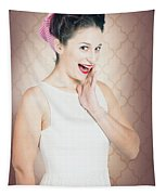 Surprised Woman With Brunette Hair And Red Lips Tapestry