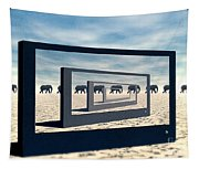 Surreal Elephant Desert Scene Tapestry