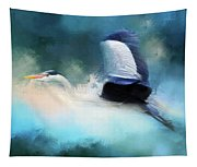 Surreal Stork In A Storm Tapestry