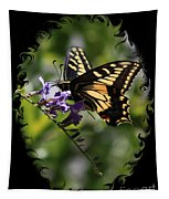 Swallowtail Butterfly 1 With Swirly Frame Tapestry
