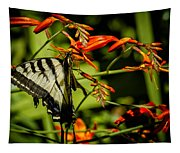 Swallowtail Hanging On The Crocosmia Tapestry